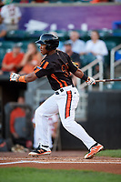 Aberdeen IronBirds third baseman Jean Carmona (37) follows through on a swing during a game against the Staten Island Yankees on August 23, 2018 at Leidos Field at Ripken Stadium in Aberdeen, Maryland.  Aberdeen defeated Staten Island 6-2.  (Mike Janes/Four Seam Images)