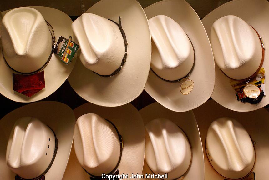 Palm hats in the market,  San Miguel de Allende, Mexico. San Miguel de Allende is a UNESCO World Heritage Site....