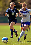 2 September 2007: University of New Hampshire Wildcats' Shaunna Kaplan (15), a Sophomore from Framingham, MA, battles University of Central Arkansas Sugar Bears' Dorothy Wright (23), a Senior from Fayetteville, Ark., at Historic Centennial Field in Burlington, Vermont. The Wilcats shut out the Sugar Bears 3-0 during the TD Banknorth Soccer Classic...Mandatory Photo Credit: Ed Wolfstein Photo
