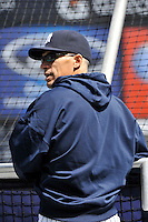 Apr 02, 2011; Bronx, NY, USA; New York Yankees manager Joe Girardi (28) during game against the Detroit Tigers at Yankee Stadium. Yankees defeated the Tigers 10-6. Mandatory Credit: Tomasso De Rosa