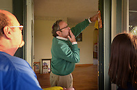 NWA Democrat-Gazette/BEN GOFF @NWABENGOFF<br /> Rabbi Rob Lennik dedicates the new home of Community Synagogue of Northwest Arkansas with the placing of the Mezuzah on the door on Friday April 8, 2016 during the inaugural service of the synagogue in Lowell.