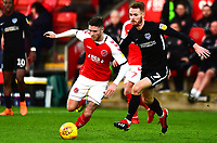 Fleetwood Town's Wes Burns competes with Portsmouth's Tom Naylor<br /> <br /> Photographer Richard Martin-Roberts/CameraSport<br /> <br /> The EFL Sky Bet League One - Fleetwood Town v Portsmouth - Saturday 29th December 2018 - Highbury Stadium - Fleetwood<br /> <br /> World Copyright &not;&copy; 2018 CameraSport. All rights reserved. 43 Linden Ave. Countesthorpe. Leicester. England. LE8 5PG - Tel: +44 (0) 116 277 4147 - admin@camerasport.com - www.camerasport.com