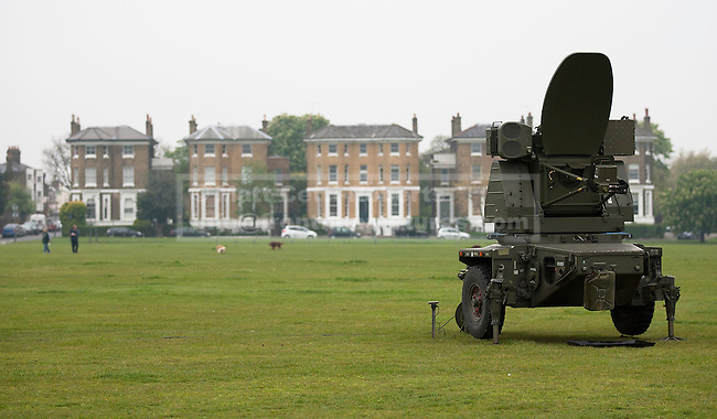 02/05/2012. LONDON, UK. A Rapier air defence tracking radar of 16 Regiment Royal Artillery is seen on Blackheath in London today (02/04/12). As part of an exercise testing military procedures and security across London for the 2012 Olympic Games a Rapier Surface to Air Missile System (SAM) has been deployed to Blackheath in South East London. Photo credit: Matt Cetti-Roberts