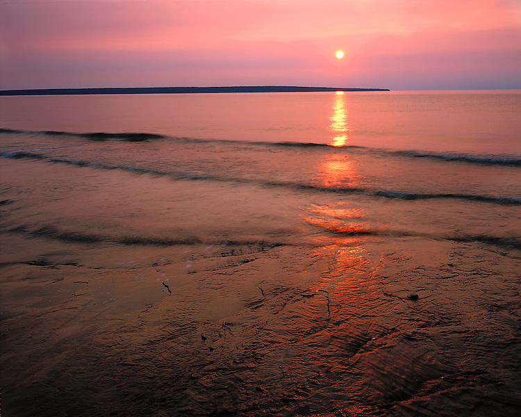 Sunset on the shore of Lake Superior at Miners Beach; Pictured Rocks National Lakeshore, MI