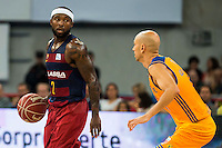 Herbalife Gran Canaria's player Albert Oliver and FC Barcelona Lassa player Tyrese Rice during the final of Supercopa of Liga Endesa Madrid. September 24, Spain. 2016. (ALTERPHOTOS/BorjaB.Hojas) NORTEPHOTO.COM