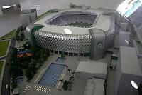 SÃO PAULO,SP,06 AGOSTO 2012 - VISITA JOGADORES OBRAS ARENA PALESTRA<br /> Maquete da Arena Palestra.FOTO ALE VIANNA/BRAZIL PHOTO PRESS.