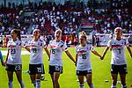 31.08.2019, Auestadion, Kassel, GER, DFB Frauen, EM Qualifikation, Deutschland vs Montenegro , DFB REGULATIONS PROHIBIT ANY USE OF PHOTOGRAPHS AS IMAGE SEQUENCES AND/OR QUASI-VIDEO<br /> <br /> im Bild | picture shows:<br /> das DFB Team laesst sich feiern, (vl) Sara Doorsoun (DFB Frauen #23), Klara Buehl (DFB Frauch #19), Giulia Gwinn (DFB Frauen #15), Linda Dallmann (DFB Frauen #16) und Lea Schueller (DFB Frauen #7),<br /> <br /> Foto © nordphoto / Rauch