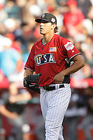 Christian Friedrich of the Colorado Rockies organization participates in the Futures Game at Angel Stadium in Anaheim,California on July 11, 2010. Photo by Larry Goren/Four Seam Images