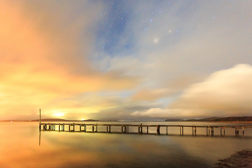 Jetty and night sky at Albany. Western Australia.