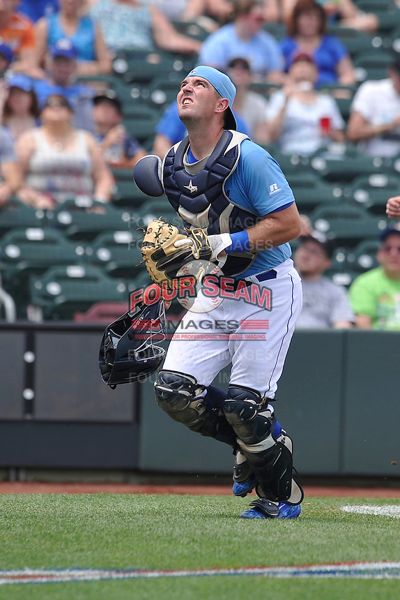 Omaha Storm Chasers Zane Evans (28) pursues a foul ball during the game against the El Paso Chihuahuas at Werner Park on May 30, 2016 in Omaha, Nebraska.  El Paso won 12-0.  (Dennis Hubbard/Four Seam Images)