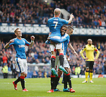 Nathan Oduwa hoists up goalscorer Nicky Law after goal no 3