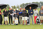 Players observe a minutes silence in memory of Seve Ballesteros, who passed away during the night, during Day 3 of the Open de Espana at Real Club De Golf El Prat, Terrasa, Barcelona, 7th May 2011. (Photo Eoin Clarke/Golffile 2011)