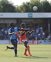 Blackpool's Armand Gnanduillet vies for possession with Wycombe Wanderers' Anthony Stewart<br /> <br /> Photographer Kevin Barnes/CameraSport<br /> <br /> The EFL Sky Bet League One - Wycombe Wanderers v Blackpool - Saturday 4th August 2018 - Adams Park - Wycombe<br /> <br /> World Copyright &copy; 2018 CameraSport. All rights reserved. 43 Linden Ave. Countesthorpe. Leicester. England. LE8 5PG - Tel: +44 (0) 116 277 4147 - admin@camerasport.com - www.camerasport.com
