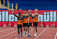 Marshall Milton Keynes AC Relay team carry the Commonwealth Baton down the home straight on the track during the Muller Grand Prix Birmingham Athletics at Alexandra Stadium, Birmingham, England on 20 August 2017. Photo by Andy Rowland.