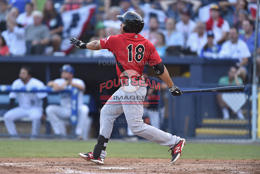Hickory Crawdads right fielder Luke Tendler (18) swings at a pitch during the South Atlantic League All Star Game on June 23, 2015 in Asheville, North Carolina. The North Division defeated the South 7-5(Tony Farlow/Four Seam Images)