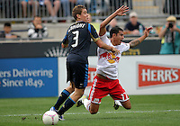 CHESTER, PA - OCTOBER 27, 2012:  Chris Albright (3) of the Philadelphia Union stops  Tim Cahill (17) of the New York Red Bulls during an MLS match at PPL Park in Chester, PA. on October 27. Red Bulls won 3-0.