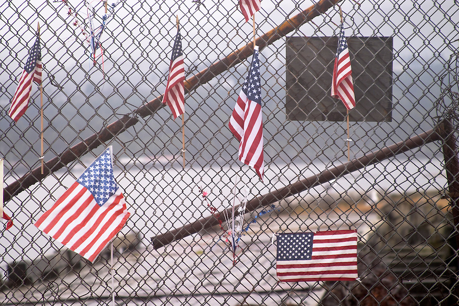 US flags on chain link fence, Port Angeles, Olympic Peninsula, Clallam County, Washington, USA