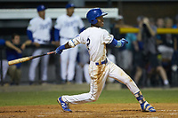 Maikel Garcia (2) of the Burlington Royals follows through on his swing against the Johnson City Cardinals at Burlington Athletic Stadium on September 4, 2019 in Burlington, North Carolina. The Cardinals defeated the Royals 8-6 to win the 2019 Appalachian League Championship. (Brian Westerholt/Four Seam Images)