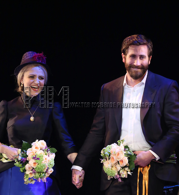 Annaleigh Ashford, Jake Gyllenhaal and Erin Davie during the opening night performance curtain call bows for 'Sunday in the Park with George' at the Hudson Theatre on February 23, 2017 in New York City.