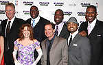 "Larry Bird, Tug Coker, Kevin Daniels & Earvin 'Magic' Johnson with Eric Simonson, Tony Ponturo, Fran Kirmser, Deirdie O'Connell, Peter Scolari, Francois Battiste & Thomas Kail.attending the Broadway Opening Night Performance After Party for ""Magic / Bird"" at the Edison Ballroom in New York City on April 11, 2012"