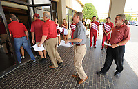 NWA Democrat-Gazette/ANDY SHUPE<br /> Arkansas fans begin to file in Friday, Aug. 18, 2017, before the start of the Kickoff Luncheon at the Northwest Arkansas Convention Center in Springdale. Visit nwadg.com/photos to see more photographs from the luncheon.
