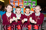 Kilgarvan NS pupils Clodagh Casey, Dan Twomey, Tadhg O'Donoghue, Luke Scanlon at the Young Entrepreneur finals in the Malton Hotel on Thursday