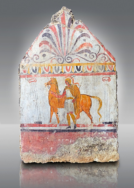 Lucanian fresco tomb painting of a soldier vand a horse. Paestrum, Andriuolo. 3rd Century BC