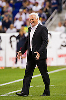 New York Red Bulls head coach Hans Backe. The New York Red Bulls defeated the Columbus Crew 3-1 during a Major League Soccer (MLS) match at Red Bull Arena in Harrison, NJ, on September 15, 2012.