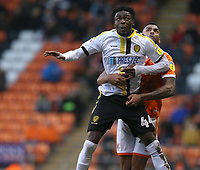 Burton Albion's Devante Cole is closely marked by Blackpool's Curtis Tilt<br /> <br /> Photographer Stephen White/CameraSport<br /> <br /> The EFL Sky Bet League One - Blackpool v Burton Albion - Saturday 24th November 2018 - Bloomfield Road - Blackpool<br /> <br /> World Copyright © 2018 CameraSport. All rights reserved. 43 Linden Ave. Countesthorpe. Leicester. England. LE8 5PG - Tel: +44 (0) 116 277 4147 - admin@camerasport.com - www.camerasport.com