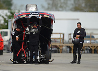 Sept. 30, 2012; Madison, IL, USA: NHRA funny car driver Cruz Pedregon during the Midwest Nationals at Gateway Motorsports Park. Mandatory Credit: Mark J. Rebilas-