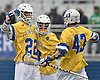 Josh Byrne #22 of Hofstra University, left, gets congratulated by teammates Jimmy Yanes #8, center, and Ryan Tierney #43 after scoring a goal to extend the Pride's lead over UMass to 9-1 in the second quarter of an NCAA Division I men's lacrosse game at Shuart Stadium in Hempstead on Saturday, April 22, 2017. Tierney assisted on the goal. Byrne scored five goals in Hofstra's 15-8 win.