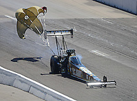 Sept. 29, 2012; Madison, IL, USA: NHRA top fuel dragster driver Tony Schumacher during qualifying for the Midwest Nationals at Gateway Motorsports Park. Mandatory Credit: Mark J. Rebilas-
