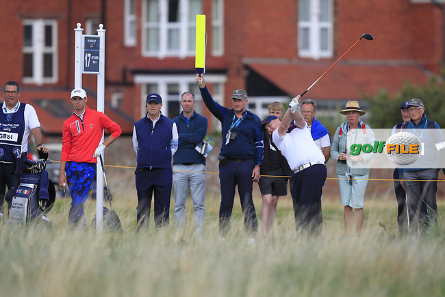 Caolan Rafferty (GB&I) on the 17th tee during Day 2 Singles at the Walker Cup, Royal Liverpool Golf CLub, Hoylake, Cheshire, England. 08/09/2019.<br /> Picture Thos Caffrey / Golffile.ie<br /> <br /> All photo usage must carry mandatory copyright credit (© Golffile | Thos Caffrey)