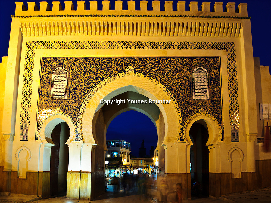 Bab Boujloud, one of the main entrances to the old medieval medina (city) of Fez, Morocco, photographed at twilight