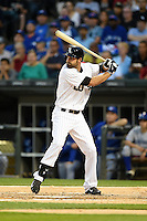 Chicago White Sox outfielder Jordan Danks (20) at bat during a game against the Toronto Blue Jays on August 15, 2014 at U.S. Cellular Field in Chicago, Illinois.  Chicago defeated Toronto 11-5.  (Mike Janes/Four Seam Images)