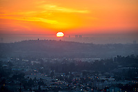 Sunset from Occidental College's Fiji Hill  on Jan. 22, 1014, looking towards the Century City skyline (I think.) (Photo by Marc Campos, Occidental College Photographer)