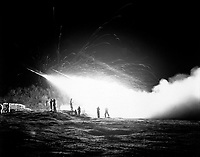 Night view of the First Rocket Battery, 11th Marine Regiment, firing a night mission, somewhere in the Marines front line sector.  April 15, 1953.  M. Sgt. Eugene C. Knauft.  (Marine Corps)<br /> NARA FILE #:  127-N-A171006<br /> WAR &amp; CONFLICT BOOK #:  1439