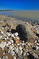 Rocky shore of Great Slave Lake<br /> near Rae-Edzo on the Yellowknife Highway<br /> Northwest Territories<br /> Canada
