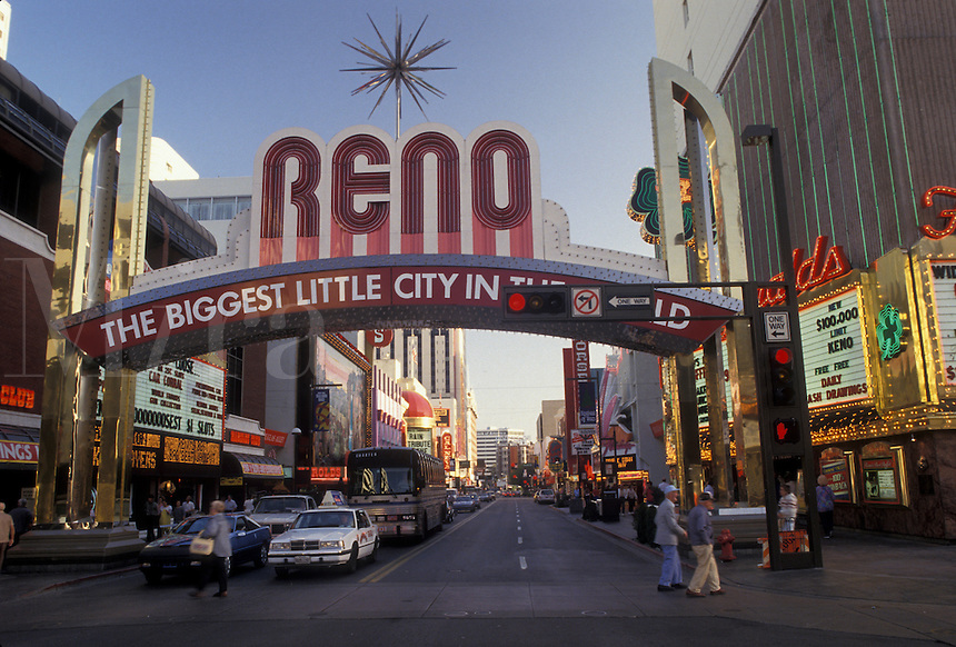 "AJ3823, Reno, casinos, Nevada, Reno sign """"The Biggest Little City in the World"""" in downtown Reno in the state of Nevada."