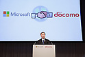 November 1, 2012, Tokyo, Japan - Kaoru Kato, president of Japan's NTT DoCoMo, speaks during a news conference in Tokyo on Thursday, November 1, 2012. DoCoMo, Japan's leading cellular phone carrier, and Microsoft Japan have agreed to work together aiming to incorporate Windows 8-powered tablet computers with DoCoMo's extra high speed LTE mobile service in the corporate computer market. (Photo by AFLO) UUK -mis-