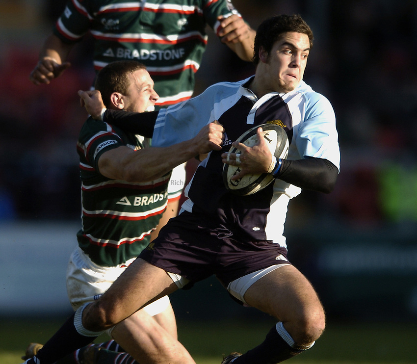 Photo: Jonathan Butler..Leicester Tigers v Argentina. The PWC Challenge Cup. 11/02/2007..Lucas Borges of Argentina is tackled by Scott Bemand.