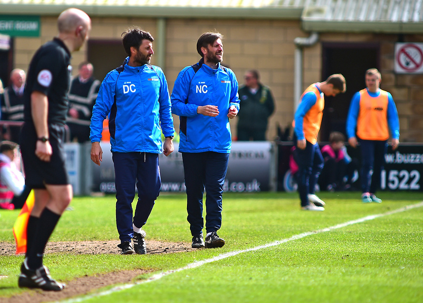 Lincoln City manager Danny Cowley and Nicky Cowley shouts instructions to their team from the dug-out<br /> <br /> Photographer Andrew Vaughan/CameraSport<br /> <br /> Vanarama National League - Lincoln City v Chester - Tuesday 11th April 2017 - Sincil Bank - Lincoln<br /> <br /> World Copyright &copy; 2017 CameraSport. All rights reserved. 43 Linden Ave. Countesthorpe. Leicester. England. LE8 5PG - Tel: +44 (0) 116 277 4147 - admin@camerasport.com - www.camerasport.com