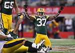 Green Bay Packers defensive back Sam Shields (37) celebrates a Jarrett Bush (24) interception during Super Bowl XLV on Sunday, February 6, 2011, in Arlington, Texas. The Packers won 31-25. (AP Photo/David Stluka)