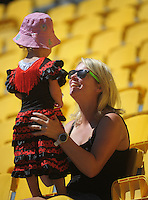 Fans in the grandstand on day two of the 2016 HSBC Wellington Sevens at Westpac Stadium, Wellington, New Zealand on Saturday, 30 January 2016. Photo: Dave Lintott / lintottphoto.co.nz