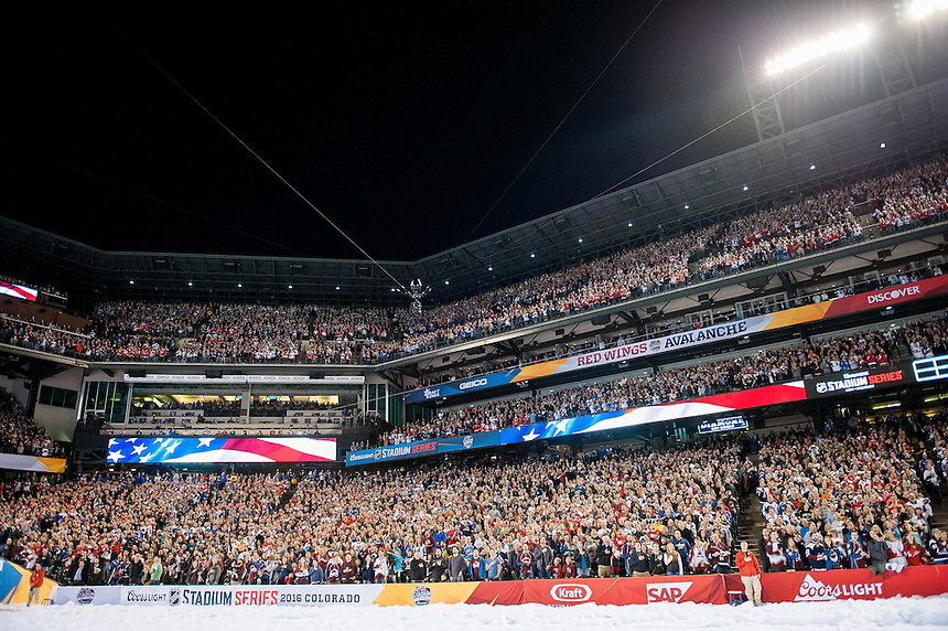 27 FEBRUARY 2016:   A general view of the crowd     during a NHL Stadium Series game between the Red Wings an Avalanche at Coors Field in Denver Denver, Colorado.  (Photo by Dustin Bradford/Icon Sportswire)