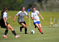 Action from the 2019 National Age Group Tournament Under-16 Girls football match between Auckland and Northern at Memorial Park in Petone, Wellington, New Zealand on Thursday, 11 December 2019. Photo: Dave Lintott / lintottphoto.co.nz