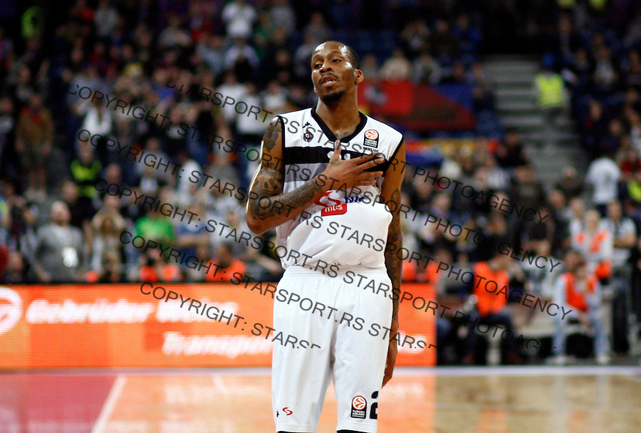 Tarence Kinsey Euroleague basketball game between Partizan and CSKA in Belgrade Arena on January 17, 2014. in Belgrade, Serbia (credit image & photo: Pedja Milosavljevic / STARSPORT / +318 64 1260 959 / thepedja@gmail.com)