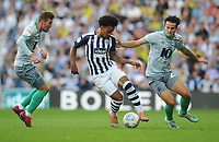 West Bromwich Albion's Matheus Pereira under pressure from Blackburn Rovers' Joe Rothwell (left) and Lewis Travis<br /> <br /> Photographer Kevin Barnes/CameraSport<br /> <br /> The EFL Sky Bet Championship - West Bromwich Albion v Blackburn Rovers - Saturday 31st August 2019 - The Hawthorns - West Bromwich<br /> <br /> World Copyright © 2019 CameraSport. All rights reserved. 43 Linden Ave. Countesthorpe. Leicester. England. LE8 5PG - Tel: +44 (0) 116 277 4147 - admin@camerasport.com - www.camerasport.com