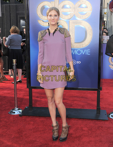 Heather Morris.attends The 20th Century Fox 'Glee 3D' Concert World Movie Premiere held at The Regency Village theatre in Westwood, California, USA, .August 6th 2011..full length dress  brown shoes clutch bag buckles  ankle boots  earrings feather dangly smiling black purple  shoulders beaded gold studded epaulettes shoulder pads .CAP/RKE/DVS.©DVS/RockinExposures/Capital Pictures.