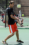 (Boston Ma 051814) Owen Grafe of Newton North with a return in the doubles match,  during South Sectional Finals, Sunday at Newton North High School, Sunday, May 18, 2014, in Newton. (Jim Michaud Photo) for Sunday
